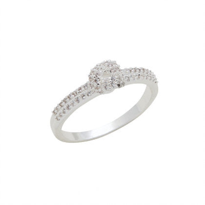 CZ Solitaire Stack Ring