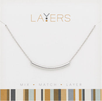 Layers Necklace-Silver Curve Bar
