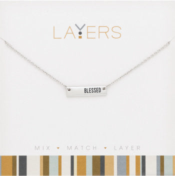 Layers Necklace-Silver Blessed Tag