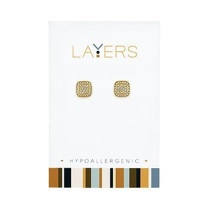Layers-Gold CZ Square Stud Earrings