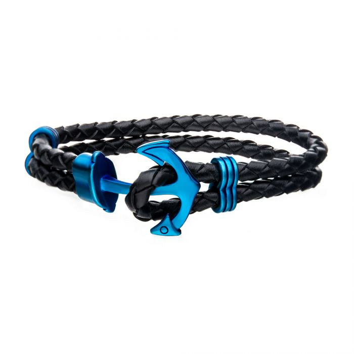 Black Leather with Blue Plated Anchor Bracelet