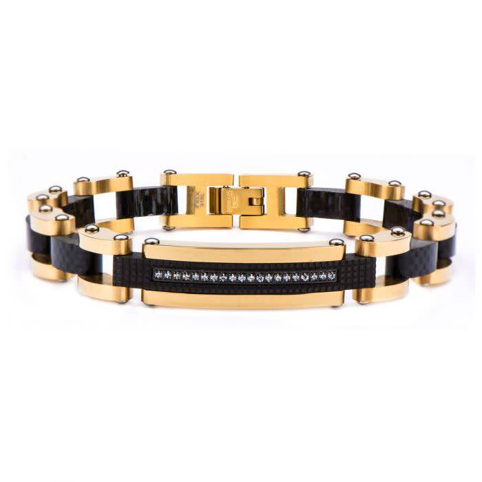 Solid Carbon Graphite and Gold Plated with Clear CZ Stone ID Link Bracelet, 8.5''