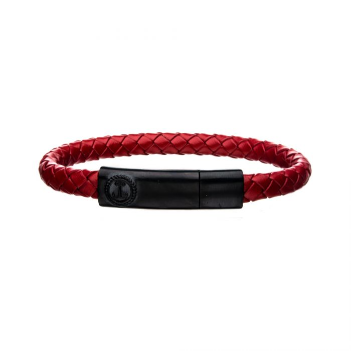 Red Leather with Anchor in Brushed Black Plated Clasp Bar Bracelet
