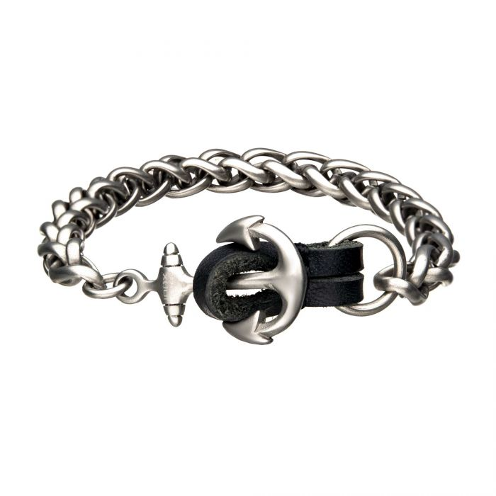 Stainless Steel and Antiqued Finish Anchor with Black Leather Chain Bracelet
