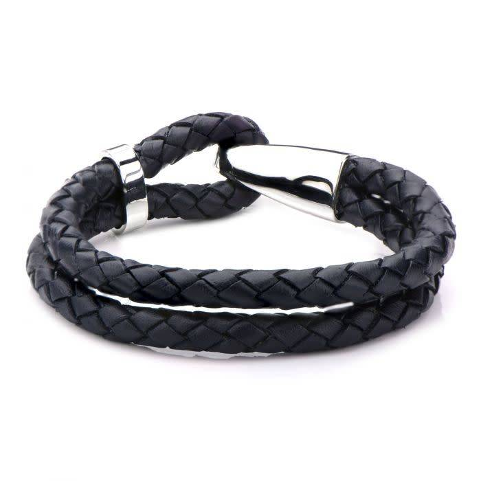 Double Dark Navy Blue Leather and Steel Bracelet 8''