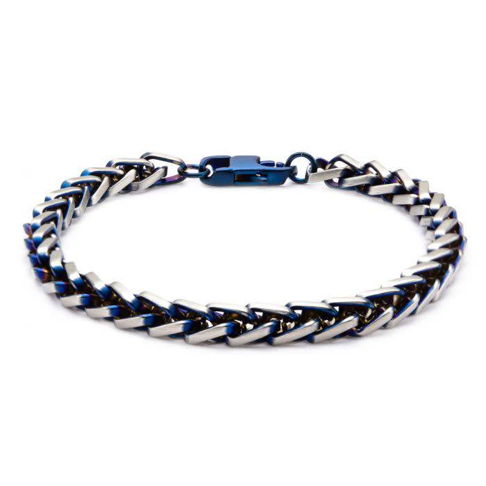 Steel Blue Plated Rounded Franco Chain Bracelet