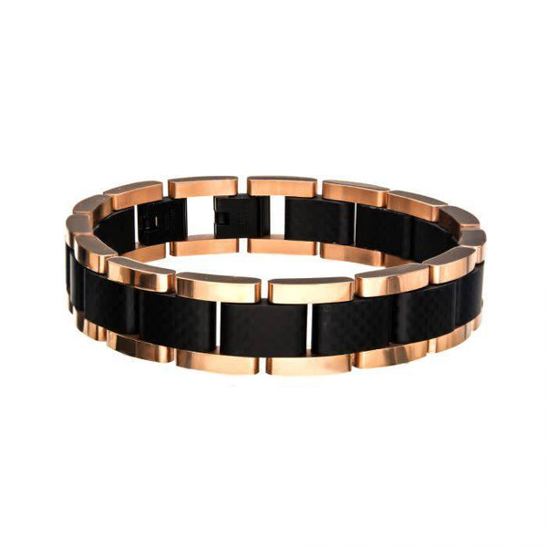 Steel Black and Rose Gold Link Bracelet, 8.5""