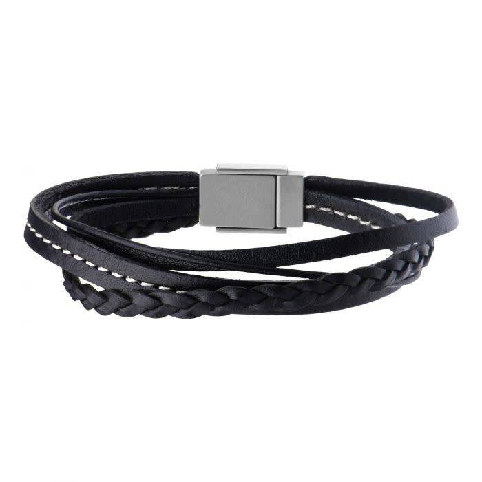 Black Leather in White Thread and Braided Layered Bracelet