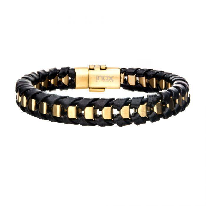 Black Leather Bracelet with Gold Bar, 8.5""