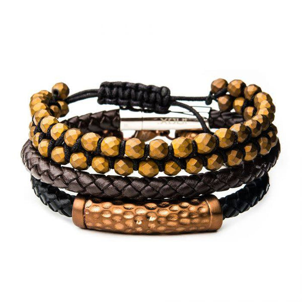3PC - Cappuccino Leather and Brown Hematite Bead Stackable Bracelets