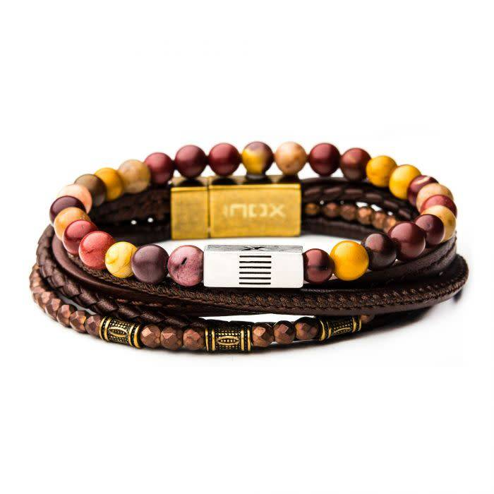 2PC - Multi Leather Mookite Stackable Bracelets