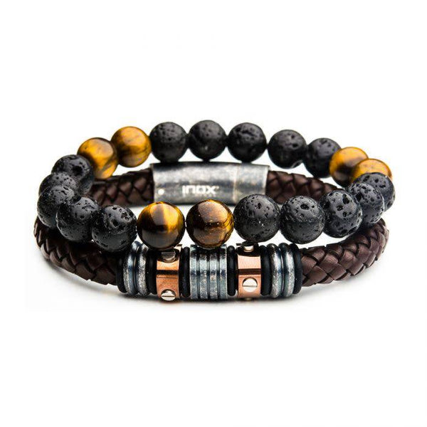 2PC - Lava Bead Station Leather Stackable Bracelets