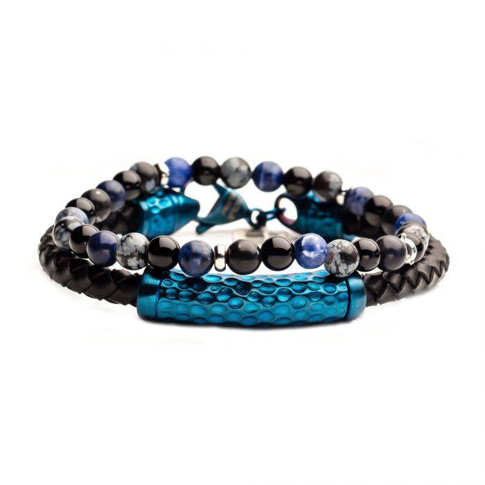 2PC Bracelet Set - Onyx Beaded, Blue Steel Leather Bracelets