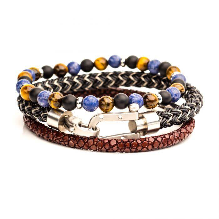 3PC Bracelet Set - Brown Leather, Stone Beaded, Steel Bracelets