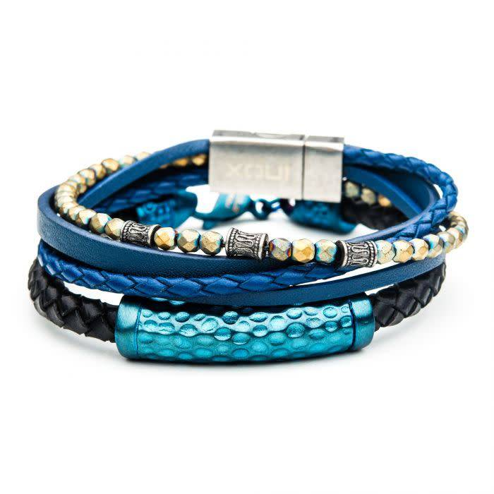 2PC - Blue Multi Leather and Hematite Bead Stackable Bracelets