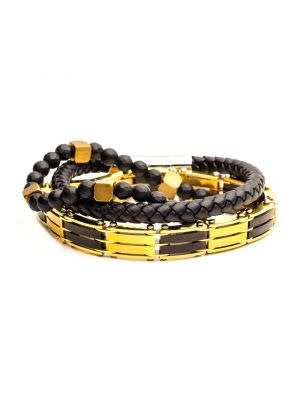 3PC - Gold Chain Link, Black Beaded, K Leather Braided Bracelets