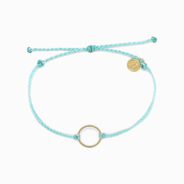 Gold Circle Bracelet in Blue