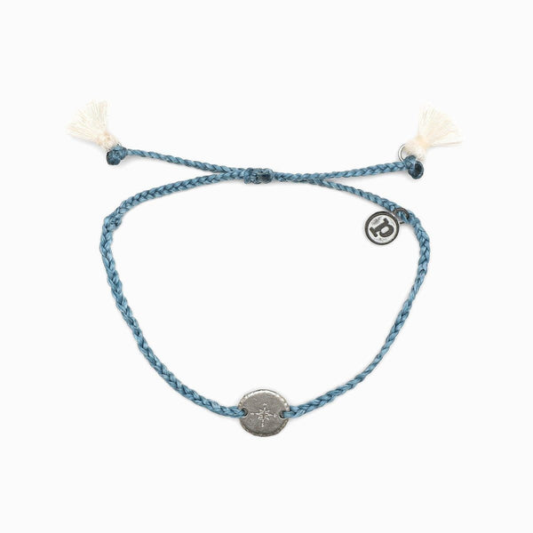 Blue Bitty Bracelet with Silver Compass and Tassel