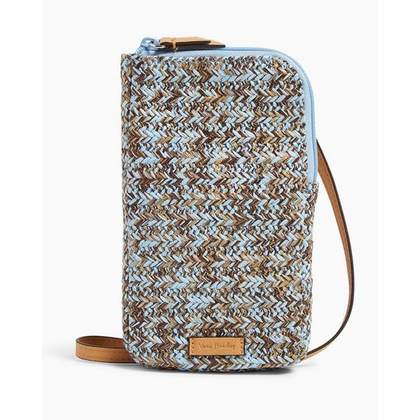 Straw Cellphone Crossbody Mint Brown Sea Life