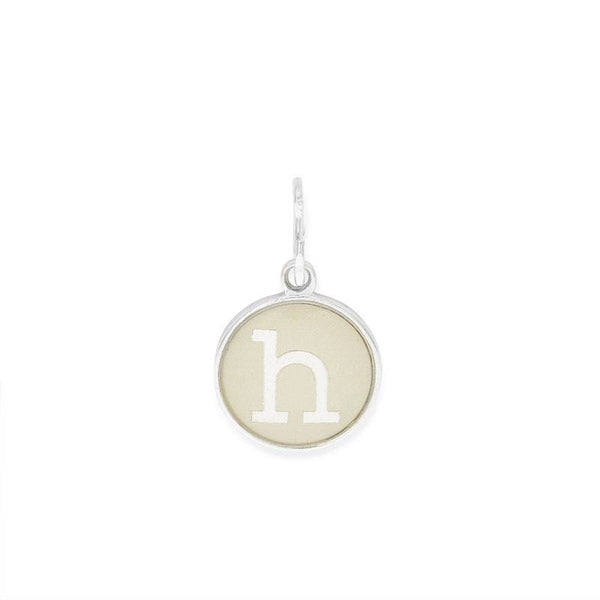 Etching Charm, Initial H, Sterling Silver