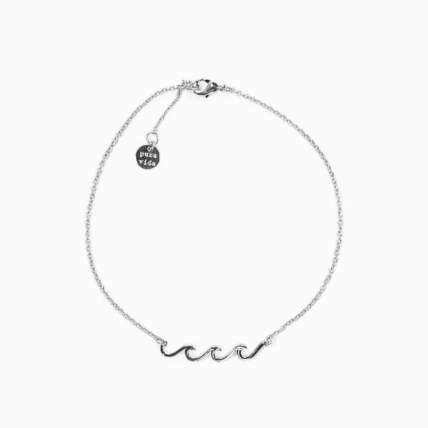 Delicate Wave Anklet Silver