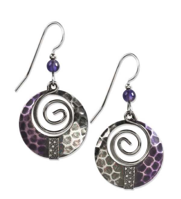 Silver Purple Spiral with Beads