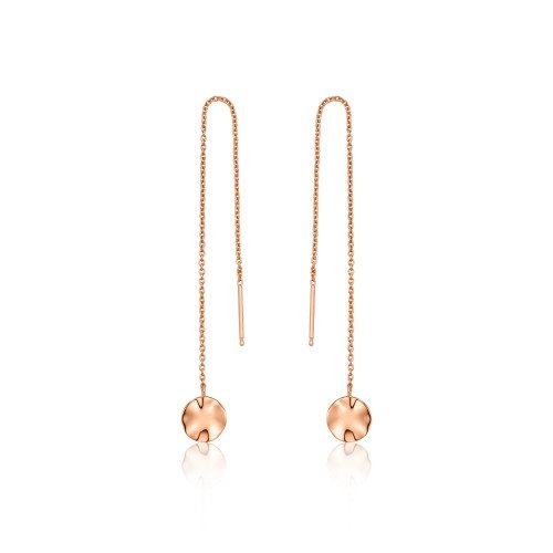 Rose Gold Ripple Threader Earrings