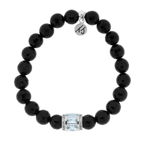 Elegance Collection - Onyx Stone Bracelet with Crystal