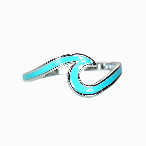 Blue Enamel Wave Ring in Silver