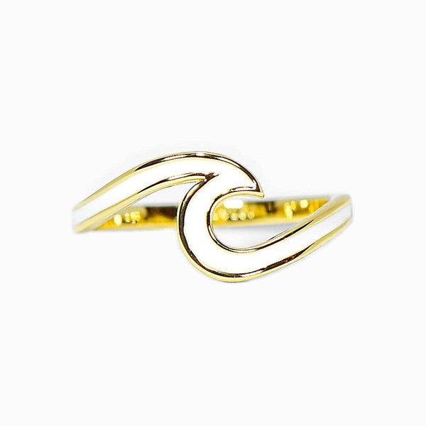 Gold w/ White Enamel Wave Ring