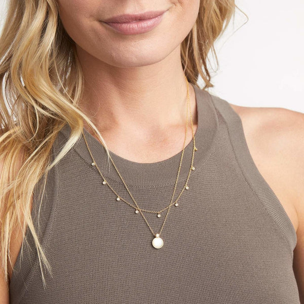 Eloise Gem Layered Necklace Gold- Mother of Pearl