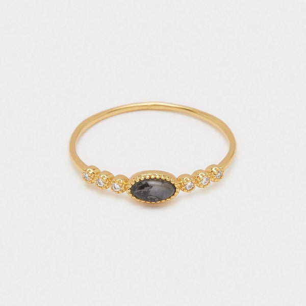 Eloise Gem Ring Gold, Black Labradorite
