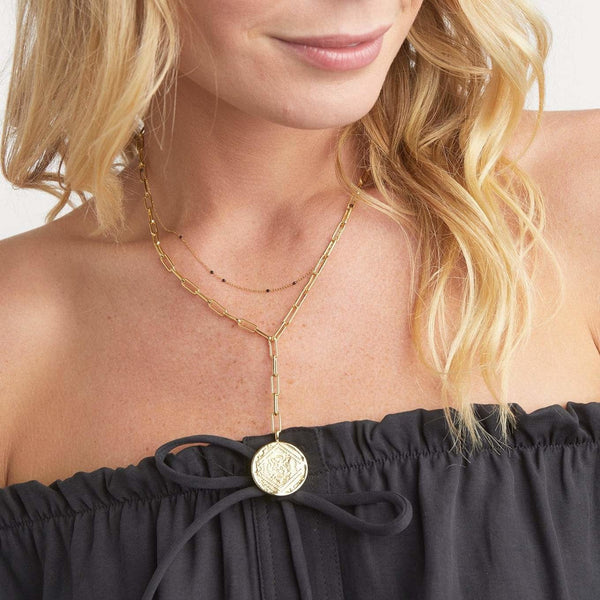 Ana Coin Lariat - Gold