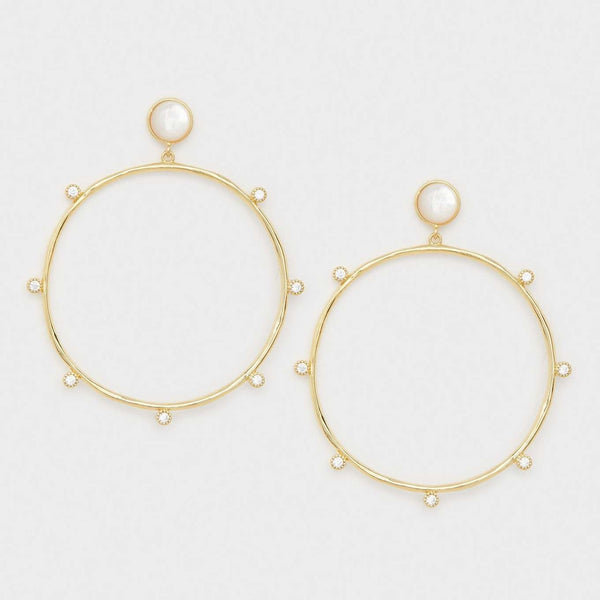 Eloise Gem Drop Hoops Gold- Mother of Pearl