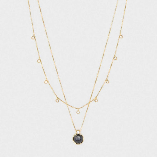 Eloise Gem Layered Necklace Gold- Black Labradorite