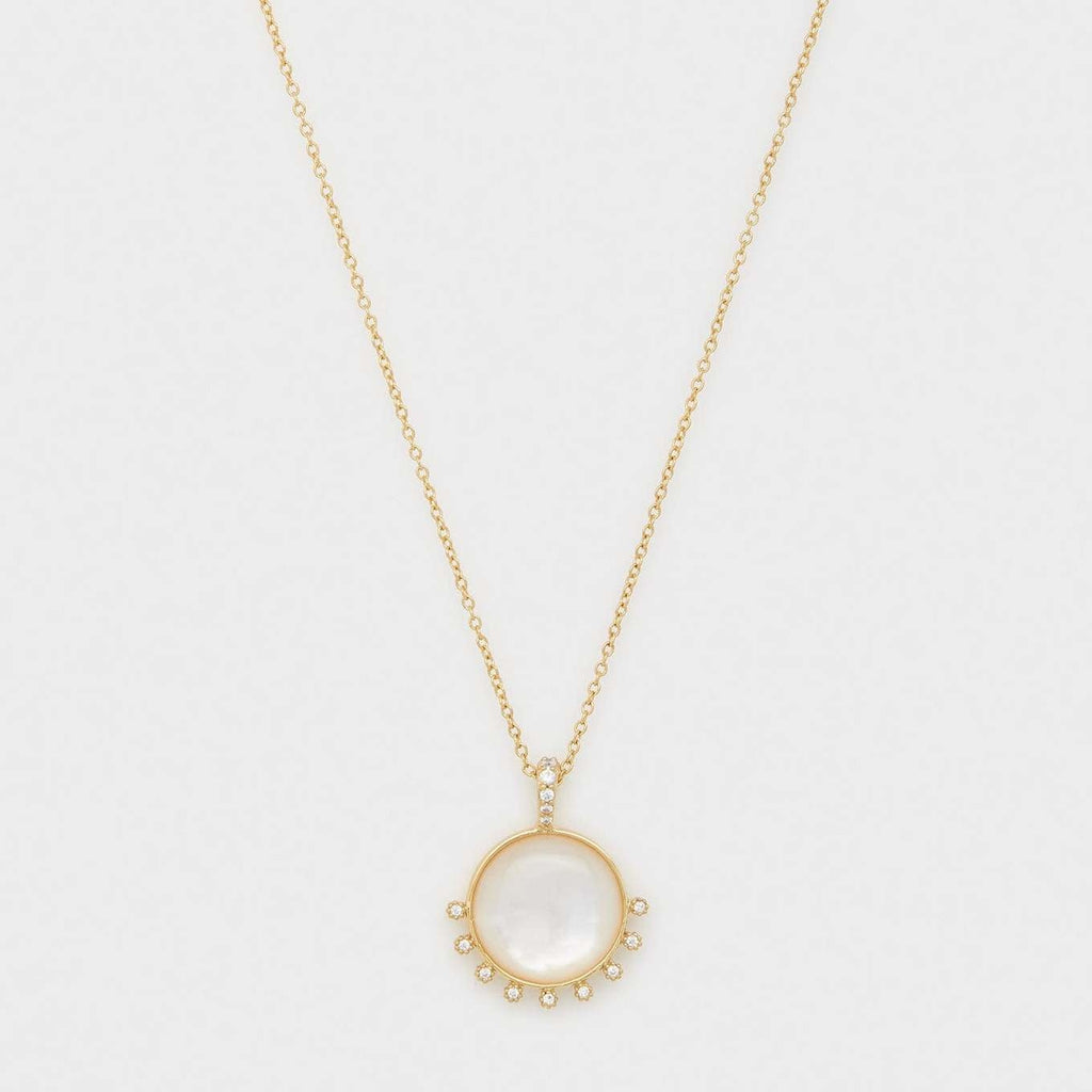 Eloise Gem Necklace Gold-Mother of Pearl