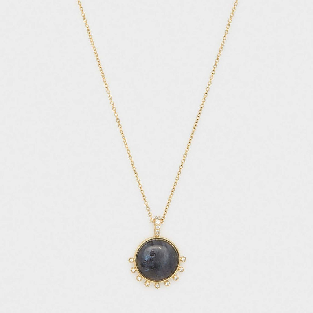 Eloise Gem Necklace Gold- Black Labradorite