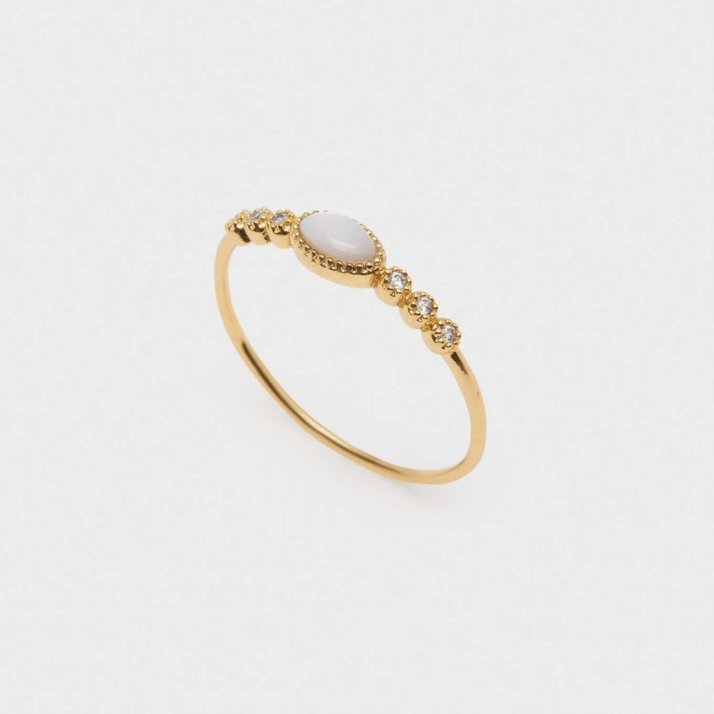 Eloise Gem Ring Gold, Mother of Pearl