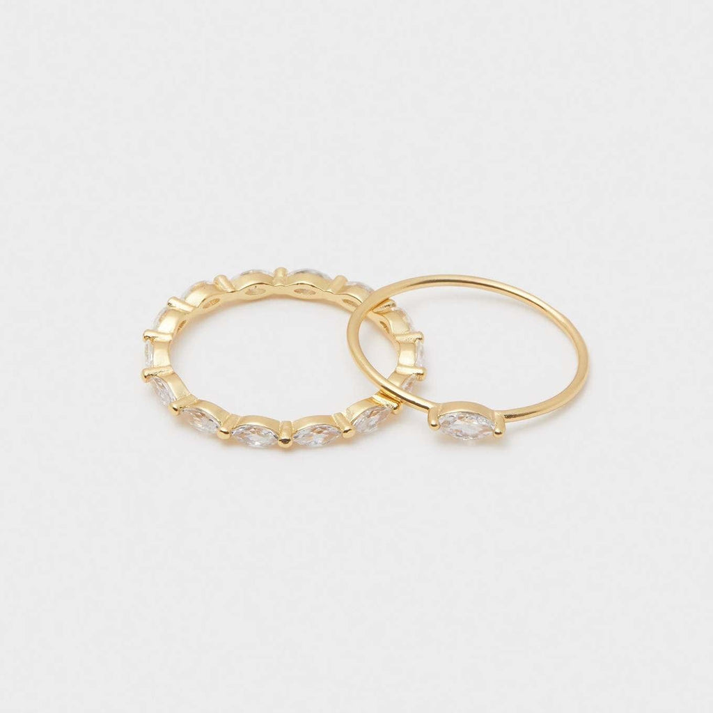 Lena Ring, Set of 2, Gold - White CZ