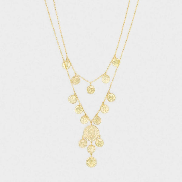 Ana Coin Layered Necklace Gold