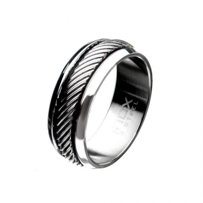 Polished Casted Steel Inlay Ring