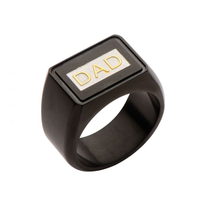 Black Plated & Steel with Gold Plated DAD Engraved Ring