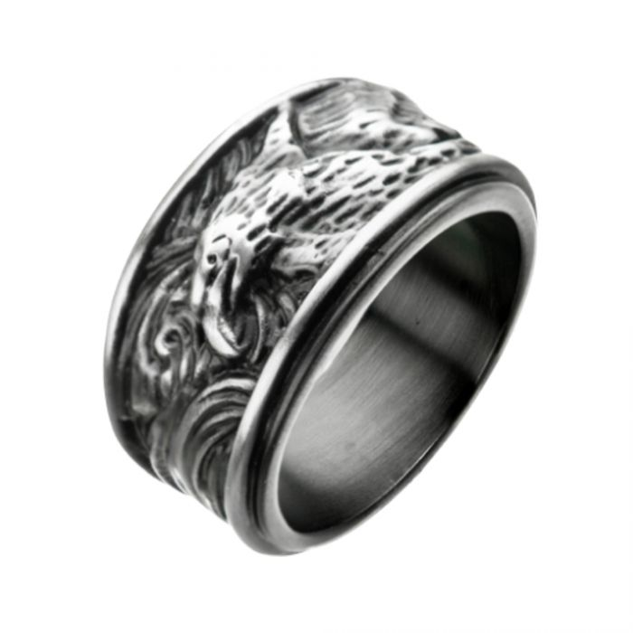 Stainless Steel Brushed Antique Eagle Rings
