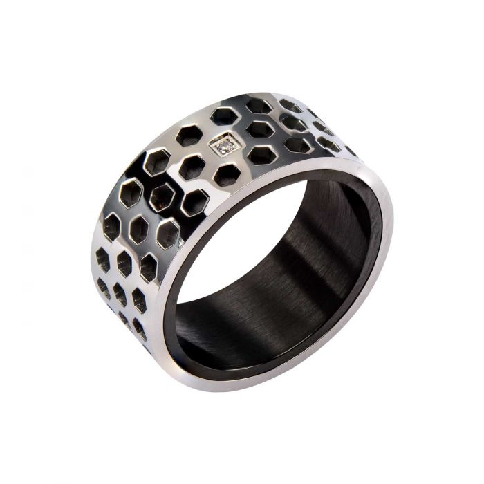 Steel Honey Comb Pattern with 1 pc Clear Genuine Diamond and Black Plated in the Middle Ring