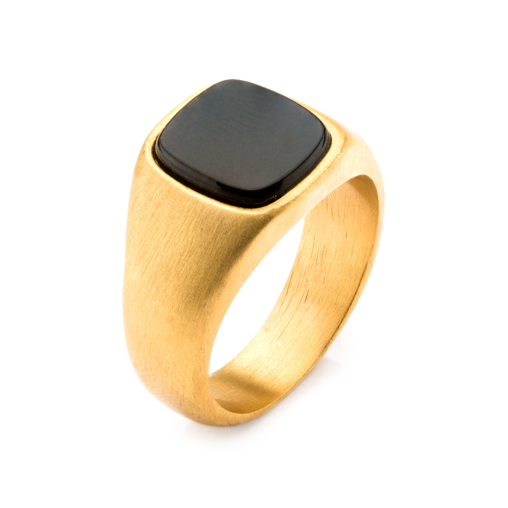 Gold Plated with Polished Onyx Signet  Ring