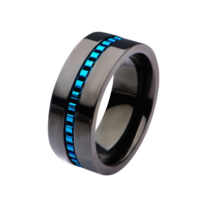 Black Plated with Blue Plated Interconnected Link Polished Ring