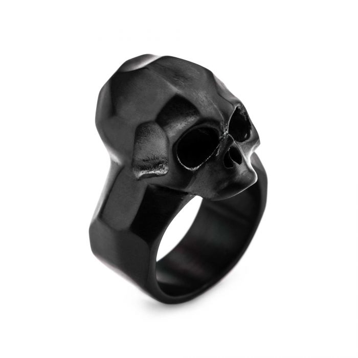 Matte Finished Black Plated Geometric Skull Ring