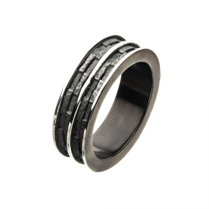 Black Plated and Steel Edgy Layered Ring