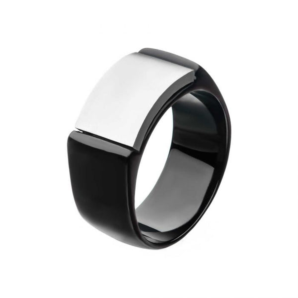 Two Tone Stainless Steel, Black IP Engraveable Signet Ring