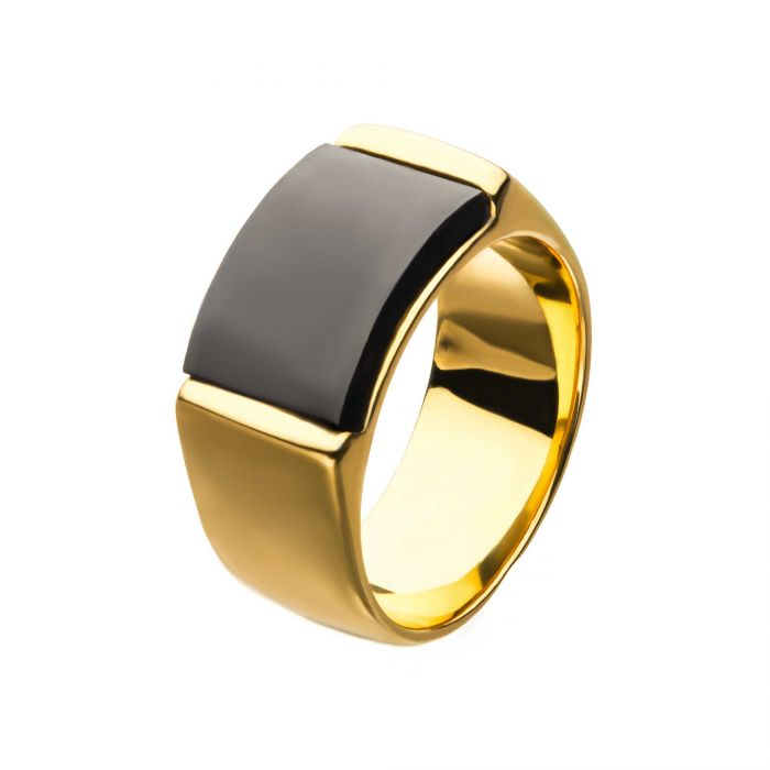 Two Tone Stainless Steel Gold, Black IP Engraveable Signet Ring